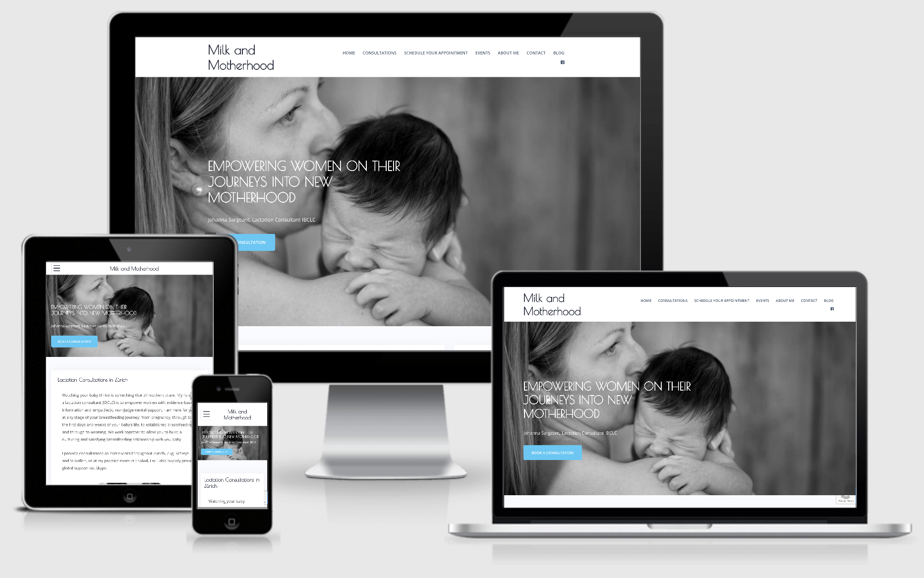 Responsive website Milk and Motherhood