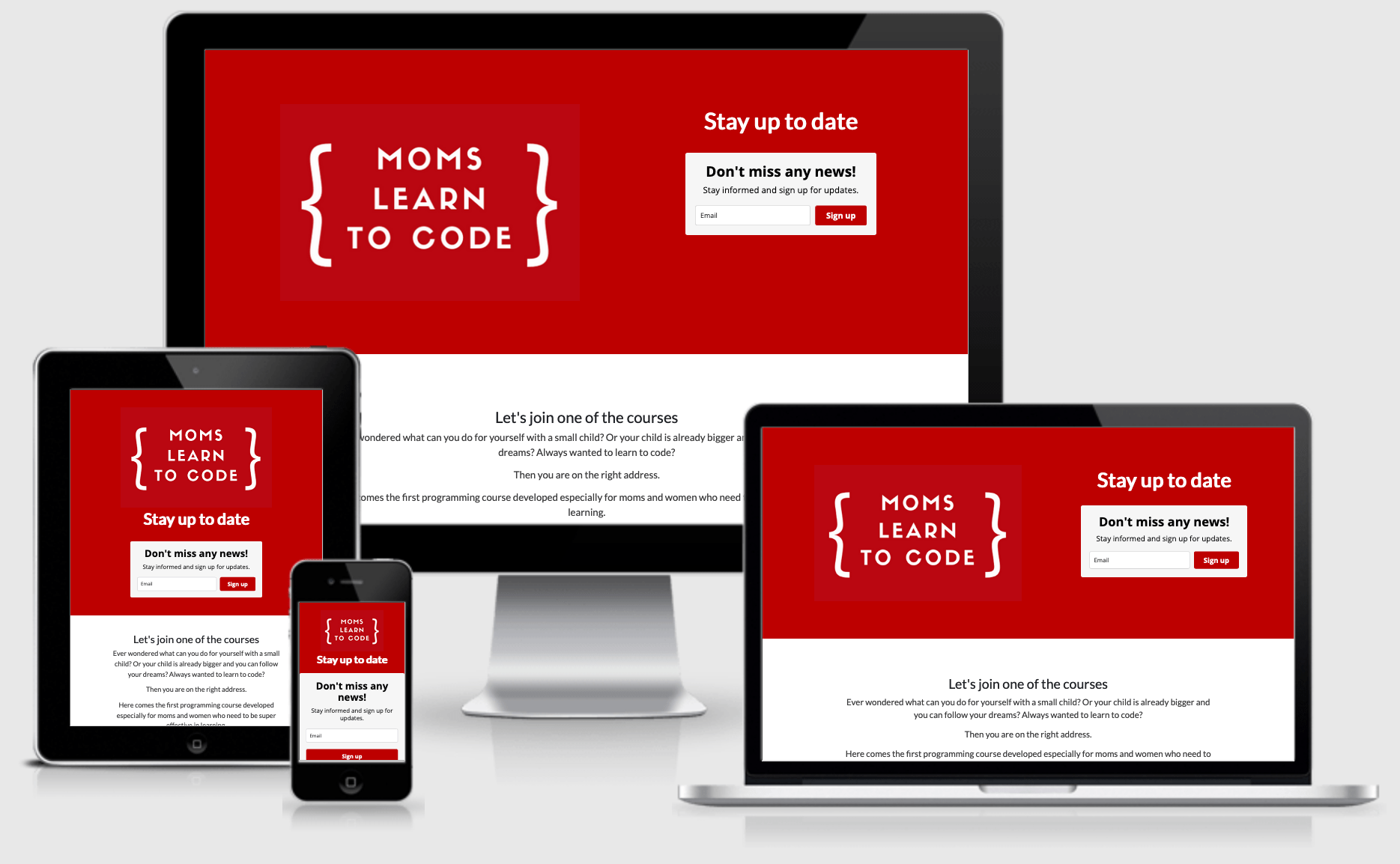Responsive website Moms learn to code