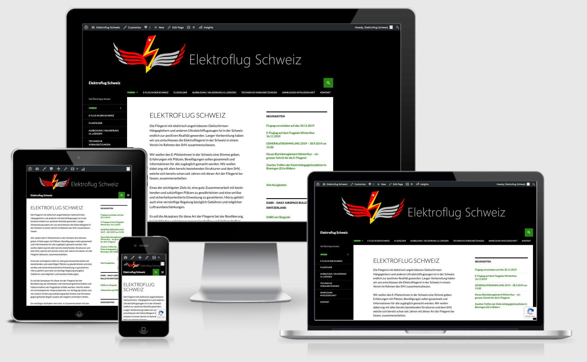 Responsive website Elektroflug Schweiz