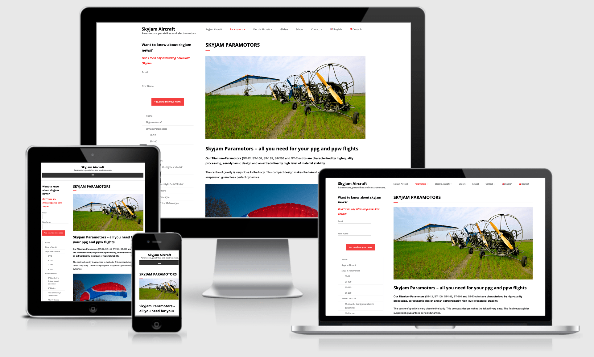 Responsive website Skyjam Aircraft
