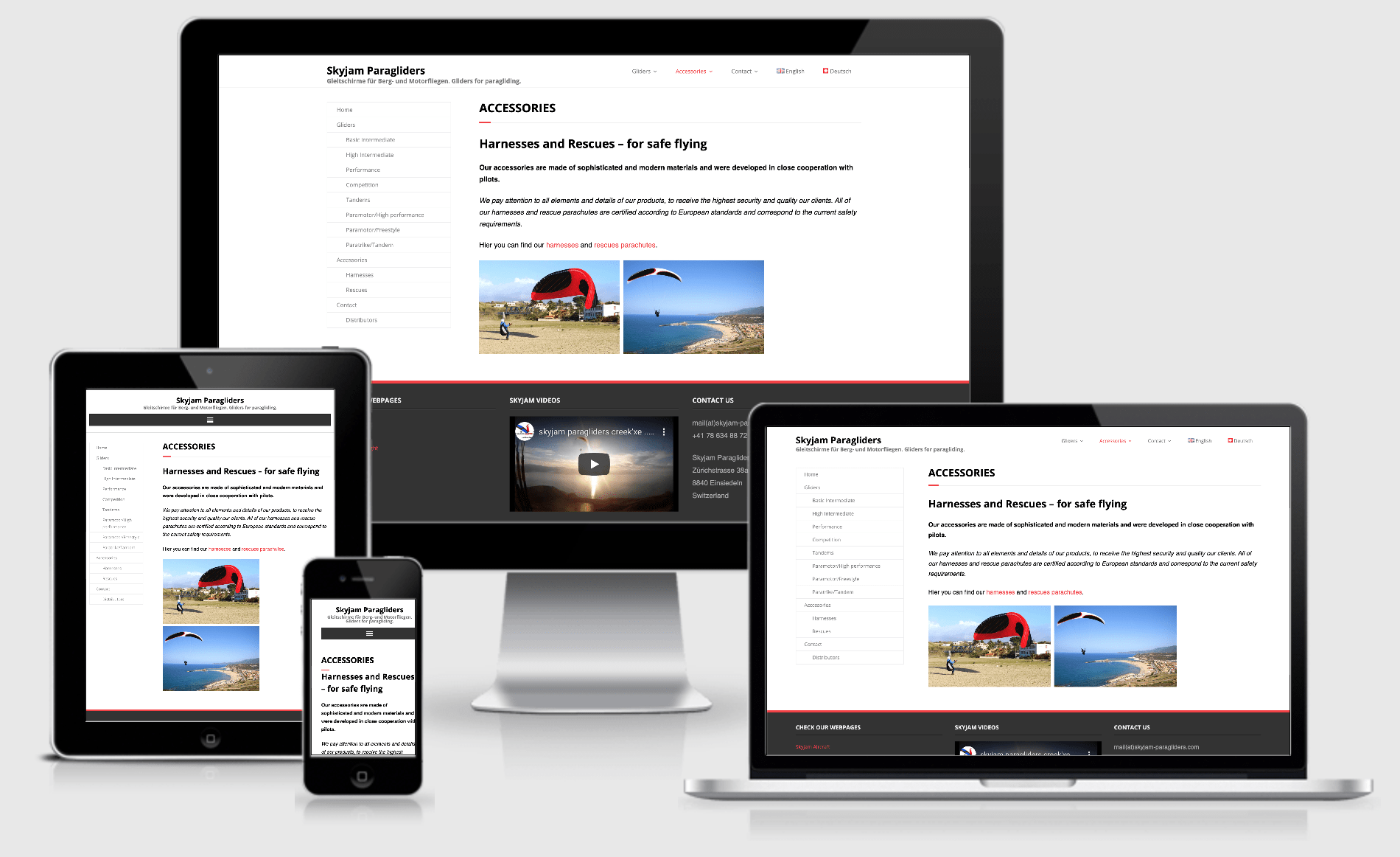 Responsive website Skyjam Paragliders